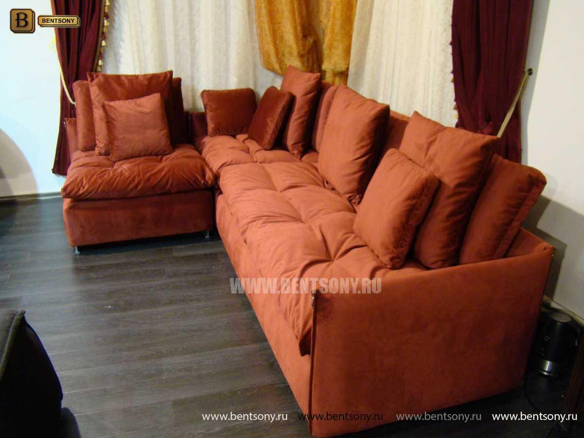 красный угловой диван Арлетто велюр