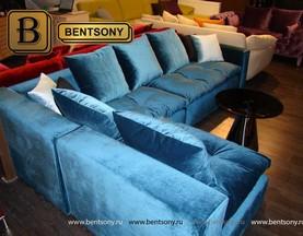 синий диван Бениамино с подушками