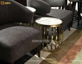 Стол Приставной для гостиной (Круглый, Мраморная столешница) купить в Москве
