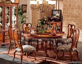 Стол обеденный круглый Феникс с сервировочной платформой (Классика, массив дерева) фото