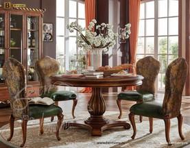 Стол обеденный круглый Лоренс А (Классика, массив дерева) для дома