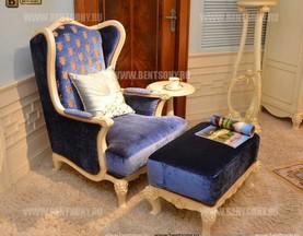 Кресло для отдыха Митчел с подушкой, Пуф (Классика, Ткань) магазин Москва