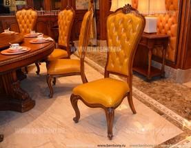 Классический стул Монтана А без подлокотников (Капитоне, Натуральная кожа) для загородного дома