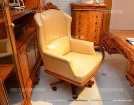 Кресло кабинетное Белмонт (Массив дерева, Кожа комбинированная) каталог мебели