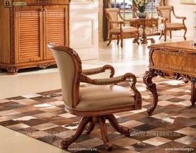 Кресло Белмонт вращающееся (Массив дерева, кожа, ткань) каталог