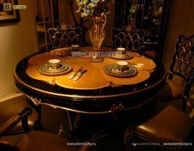 Стол обеденный круглый Конкорд (Классика, массив дерева) для загородного дома