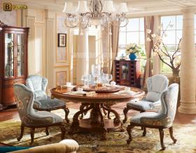 Стол обеденный круглый Батлер с сервировочной столешницей (Классика, массив дерева) для дома